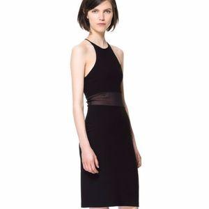 Zara Mini Black Dress Sheer Waist Size: XS NWT